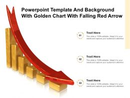 Powerpoint Template And Background With Golden Chart With Falling Red Arrow