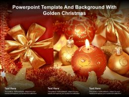 Powerpoint Template And Background With Golden Christmas