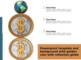 Powerpoint Template And Background With Golden Coin With Reflection Globe