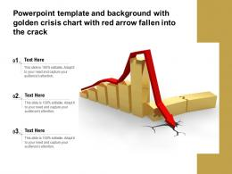Powerpoint Template And Background With Golden Crisis Chart With Red Arrow Fallen Into The Crack