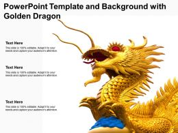 Powerpoint Template And Background With Golden Dragon