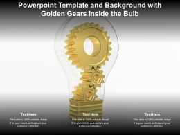 Powerpoint Template And Background With Golden Gears Inside The Bulb