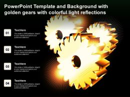 Powerpoint Template And Background With Golden Gears With Colorful Light Reflections