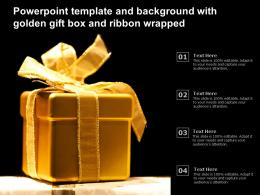 Powerpoint Template And Background With Golden Gift Box And Ribbon Wrapped