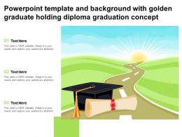 Powerpoint Template And Background With Golden Graduate Holding Diploma Graduation Concept