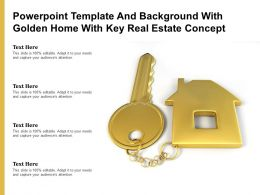 Powerpoint Template And Background With Golden Home With Key Real Estate Concept