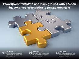Powerpoint Template And Background With Golden Jigsaw Piece Connecting A Puzzle Structure