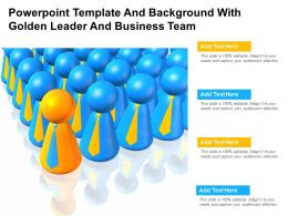 Powerpoint Template And Background With Golden Leader And Business Team