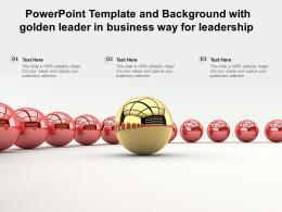 Powerpoint Template And Background With Golden Leader In Business Stairs