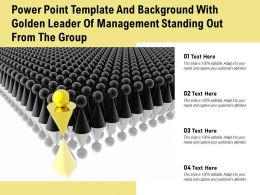 Powerpoint Template And Background With Golden Leader Of Management Standing Out From The Group