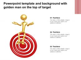 Powerpoint Template And Background With Golden Man On The Top Of Target