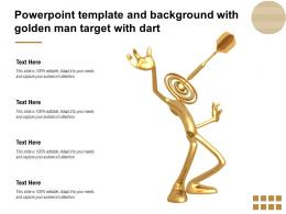 Powerpoint Template And Background With Golden Man Target With Dart