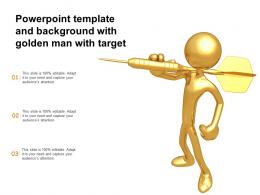 Powerpoint Template And Background With Golden Man With Target
