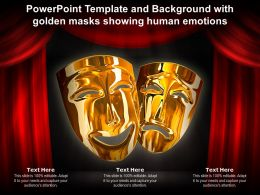 Powerpoint Template And Background With Golden Masks Showing Human Emotions