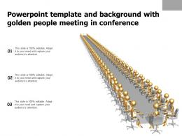 Powerpoint Template And Background With Golden People Meeting In Conference