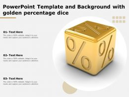 Powerpoint Template And Background With Golden Percentage Dice