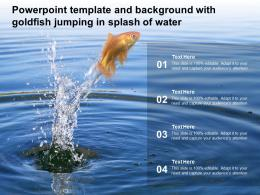 Powerpoint Template And Background With Goldfish Jumping In Splash Of Water