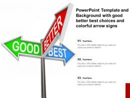 Powerpoint Template And Background With Good Better Best Choices And Colorful Arrow Signs