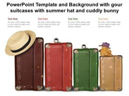 Powerpoint Template And Background With Gour Suitcases With Summer Hat And Cuddly Bunny
