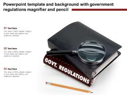 Powerpoint Template And Background With Government Regulations Magnifier And Pencil