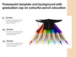 Powerpoint Template And Background With Graduation Cap On Colourful Pencil Education