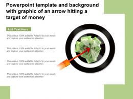 Powerpoint Template And Background With Graphic Of An Arrow Hitting A Target Of Money