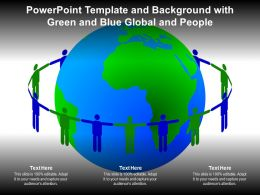 Powerpoint Template And Background With Green And Blue Global And People
