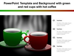 Powerpoint Template And Background With Green And Red Cups With Hot Coffee