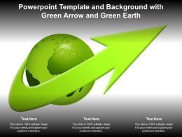 Powerpoint Template And Background With Green Arrow And Green Earth