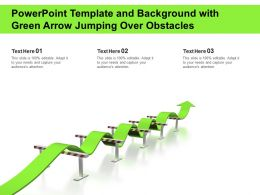 Powerpoint Template And Background With Green Arrow Jumping Over Obstacles