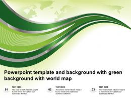 Powerpoint Template And Background With Green Background With World Map