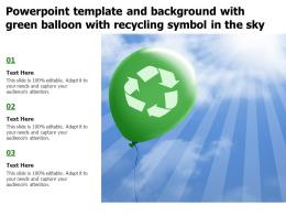 Powerpoint Template And Background With Green Balloon With Recycling Symbol In The Sky