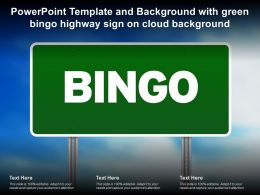 Powerpoint Template And Background With Green Bingo Highway Sign On Cloud Background