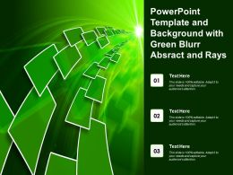 Powerpoint Template And Background With Green Blurr Absract And Rays