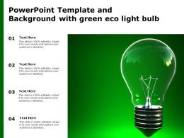 Powerpoint Template And Background With Green Eco Light Bulb