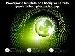 Powerpoint Template And Background With Green Global Spiral Technology