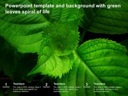 Powerpoint Template And Background With Green Leaves Spiral Of Life