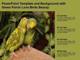 Powerpoint Template And Background With Green Parrot Love Birds Beauty
