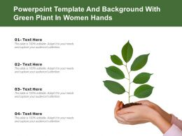 Powerpoint Template And Background With Green Plant In Women Hands
