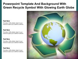 Powerpoint Template And Background With Green Recycle Symbol With Glowing Earth Globe