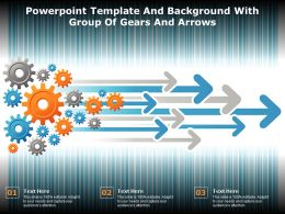 Powerpoint Template And Background With Group Of Gears And Arrows