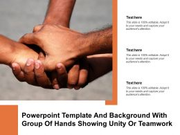 Powerpoint Template And Background With Group Of Hands Showing Unity Or Teamwork