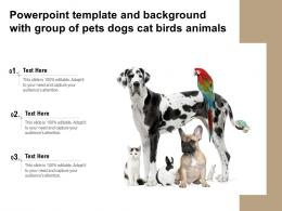 Powerpoint Template And Background With Group Of Pets Dogs Cat Birds Animals
