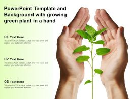 Powerpoint Template And Background With Growing Green Plant In A Hand