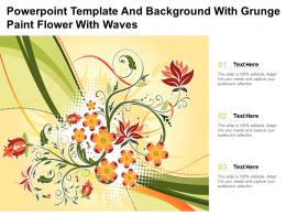Powerpoint Template And Background With Grunge Paint Flower With Waves