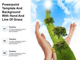 Powerpoint Template And Background With Hand And Line Of Grass