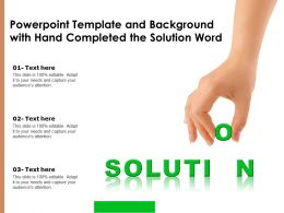 Powerpoint Template And Background With Hand Completed The Solution Word