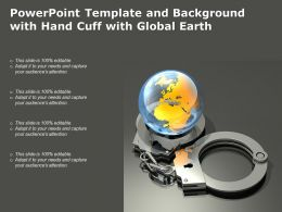 Powerpoint Template And Background With Hand Cuff With Global Earth