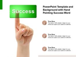 Powerpoint Template And Background With Hand Pointing Success Word