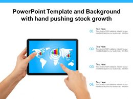 Powerpoint Template And Background With Hand Pushing Stock Growth